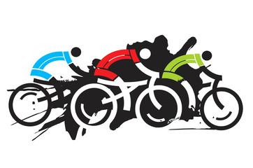 Fototapeta Do pokoju chłopca Three cyclist racers