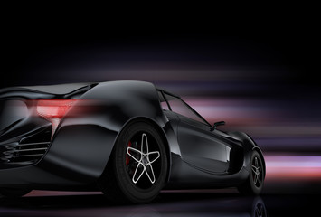 Rear view of gray sports car on black background