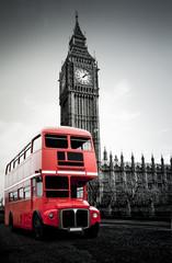 Fototapeta Roter Londoner Bus vor Big Ben