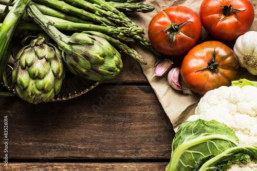 Close up of vegetables on wooden table