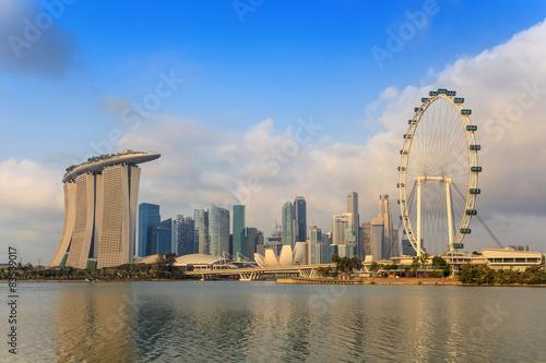 Photo  Morning light at Singapore Skyline and view of Marina Bay