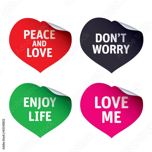 Photo  Red vector stickers Love me, Don't Worry, Peace and Love
