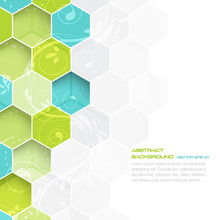 Abstract Vector Background With Hexagonal And Floral Pattern