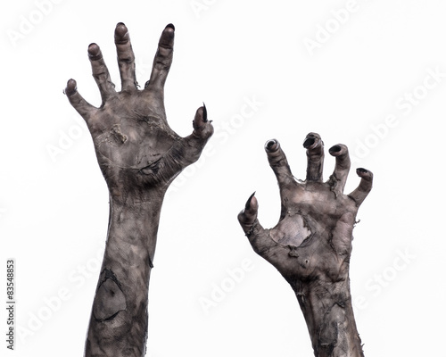 Fotografia black hand of death, walking dead, zombie theme,  zombie hands