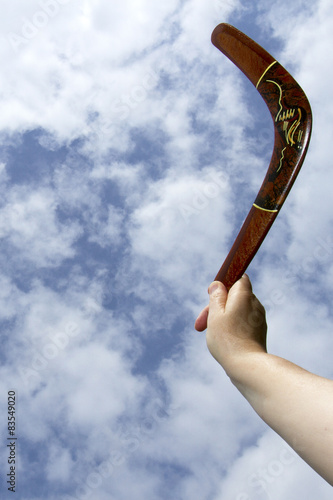 Throwing painted boomerang, vertical Canvas Print