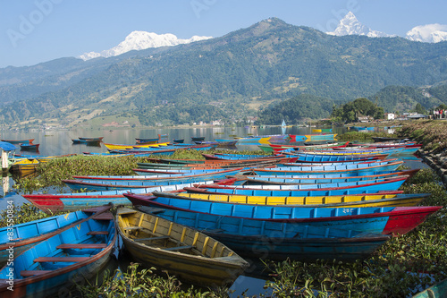 Foto op Canvas Nepal view of the lake in Pokhara