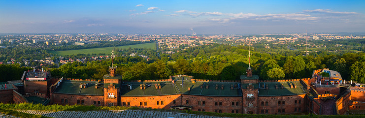 FototapetaCracow skyline with aerial view of Wawel Castle and city center