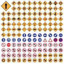Traffic Sign Yellow Red Blue Road Sign Set  Vector Illustration
