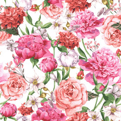 FototapetaSummer Seamless Watercolor Pattern with Pink Peonies and Roses