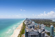 canvas print picture - View down South Beach from the north with the city on the right