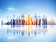 Back Lit Business People Corporate Cityscape Togetherness Concep