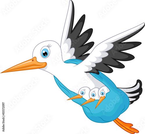 Stork cartoon carrying a baby #83572097