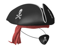 Black Pirate Hat And Eyepatch With Skulls And Red Bandana