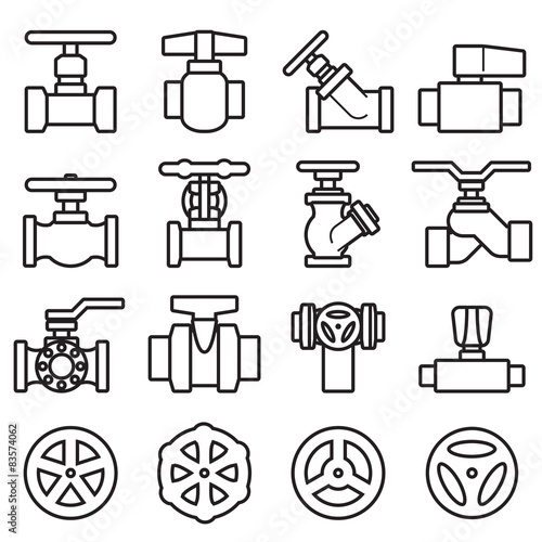 Valve and Taps icon set Wallpaper Mural