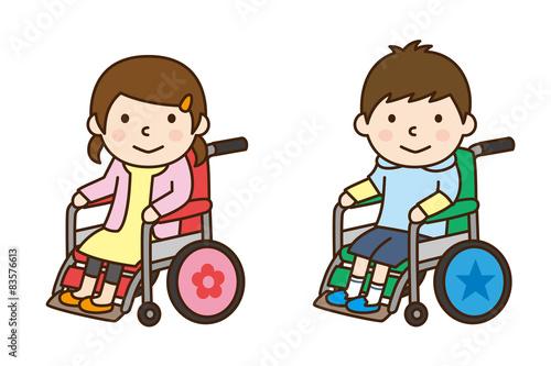 Fotografia, Obraz  車いす 女の子と男の子