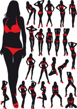Silhouettes Girls In Swimsuit