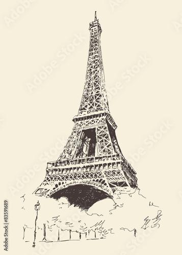 Foto  Eiffel Tower, Paris (France), vector illustration