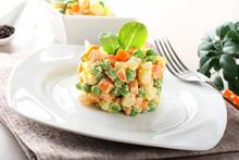 Russian Salad With Peas, Carro...