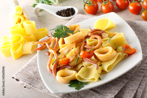Pasta with fresh squid Wallpaper Mural