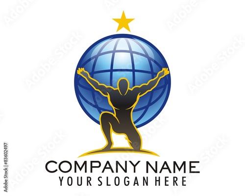 Cuadros en Lienzo atlas globe bodybuilding logo image vector