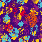 Seamless surface patternwith stamped autumn leaves