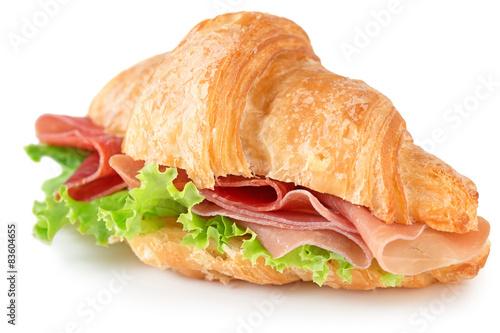 Fotografie, Obraz  croissant with parma ham and lettuce