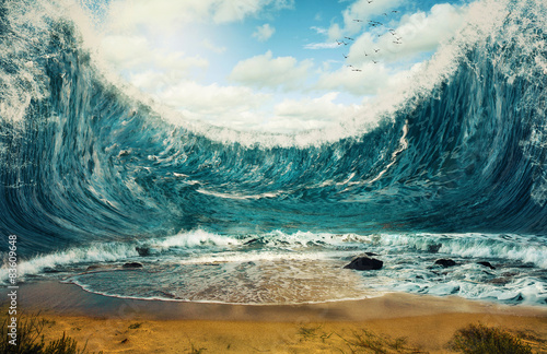 Poster de jardin Eau Huge waves