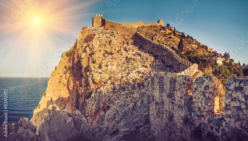 Printed kitchen splashbacks Eggplant Beautiful panoramic view of Alanya castle at sunshine.