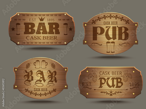 Láminas  Wooden pub bar signs set