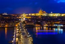 Charles Bridge, Prague Castle, Vltava River In Prague At Night.