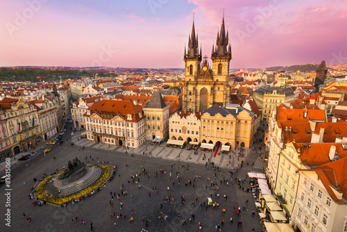 Staande foto Praag Sunset view of Old Town Square in Prague. Czech Republic