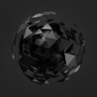 Abstract 3d rendering of low poly black sphere with chaotic
