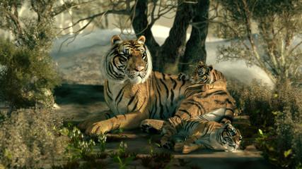 Panel Szklany Podświetlane Do pokoju Sibirian Tiger Family, 3d CG