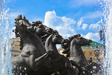 """Fountain With Horses """"Four Seasons"""" On Manezh Square - Moscow Ru"""