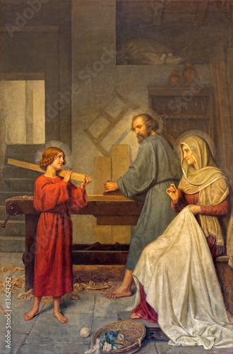 Rome - The painting of Holy Family in workroom Poster