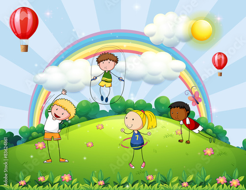 Foto op Canvas Regenboog Children and park