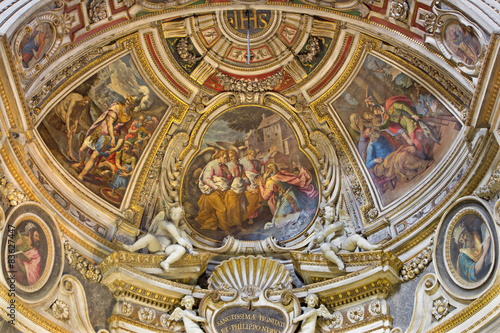 Foto  Rome - fresco of Visitation of God by Abraham in central part