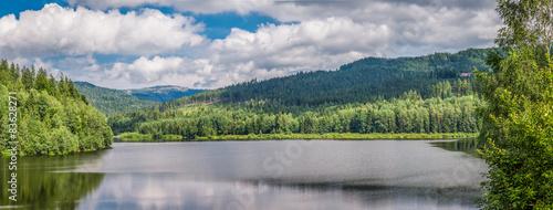 Fototapeta Mountain lake between forests, Ponad obraz
