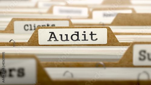 Audit Concept with Word on Folder. Canvas Print
