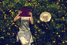 Girl Lying In Grass, Reading A...