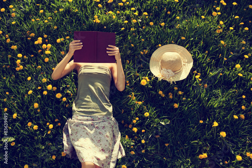 Fotografie, Obraz  Dívka ležící v trávě, čte knihu.