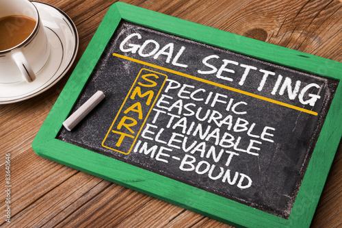 Photo  smart goal setting hand drawn on blackboard