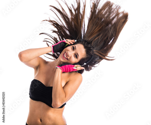 Pretty woman listening music