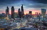 Fototapeta London - LONDON, UK - JANUARY 27, 2015: London's panorama in sun set.