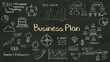 Write concept of 'Business Plan' at chalkboard. various diagram.