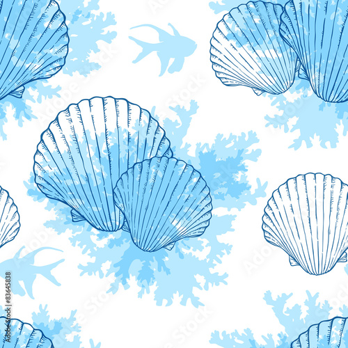 Blue marine seamless pattern