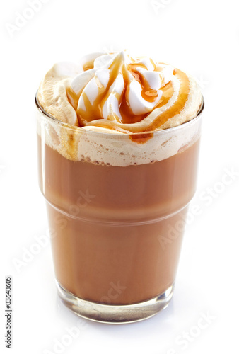Fotografie, Obraz  glass of latte coffee with whipped cream