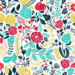 Panel SzklanyIllustration of beautiful hand drawn flowers