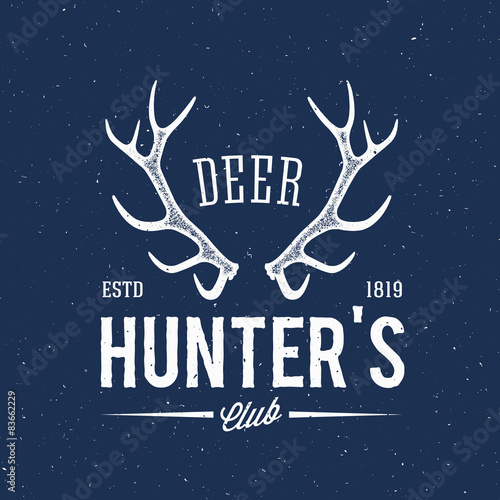 Deer Hunters Club Abstract Vintage Label or Logo Template with