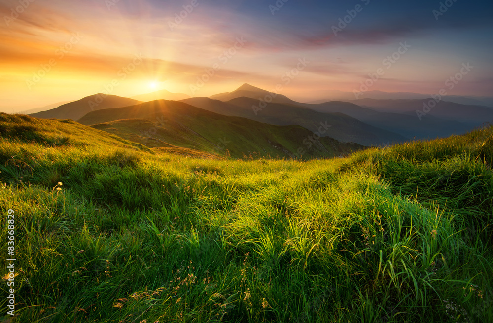Fototapety, obrazy: Mountain valley during sunrise. Natural summer landscape
